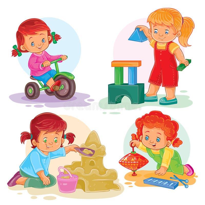 Vastgestelde pictogrammen kleine meisjes die met speelgoed spelen stock illustratie
