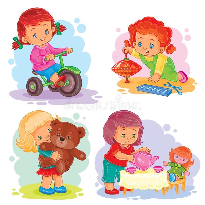 Vastgestelde pictogrammen kleine meisjes die met speelgoed spelen royalty-vrije illustratie