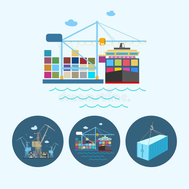 Vastgestelde pictogrammen met container, de kranen met containers in dok, vectorillustratie royalty-vrije illustratie