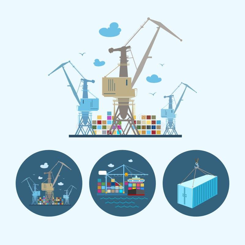 Vastgestelde pictogrammen met container, de kranen met containers in dok, vectorillustratie stock illustratie