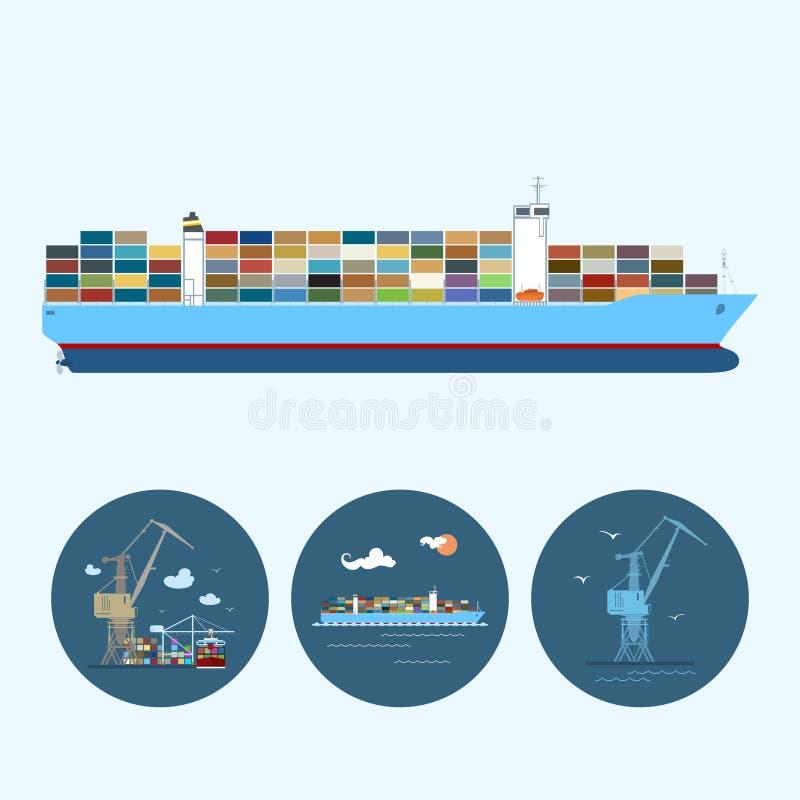 Vastgestelde pictogrammen met kraan, ladingscontainership, de kraan met containers in dok, vectorillustratie vector illustratie