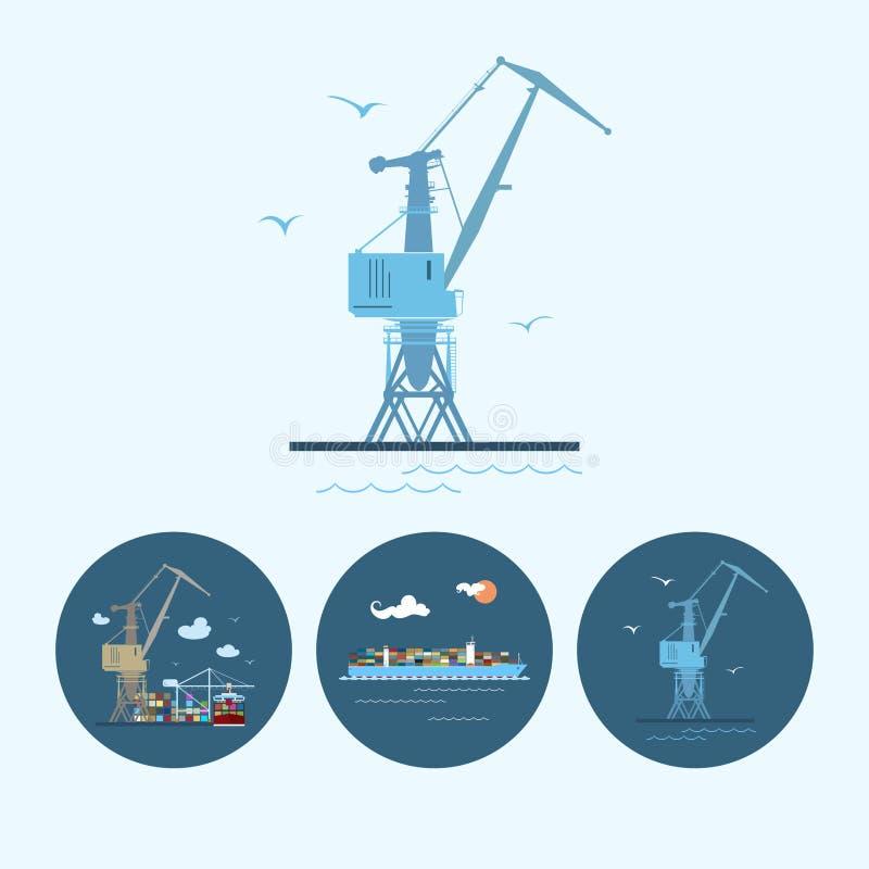 Vastgestelde pictogrammen met kraan, ladingscontainership, de kraan met containers in dok, vectorillustratie royalty-vrije illustratie