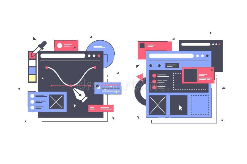 Vastgestelde pictogrammen met Webontwerp, laptop, diagram, online app royalty-vrije illustratie