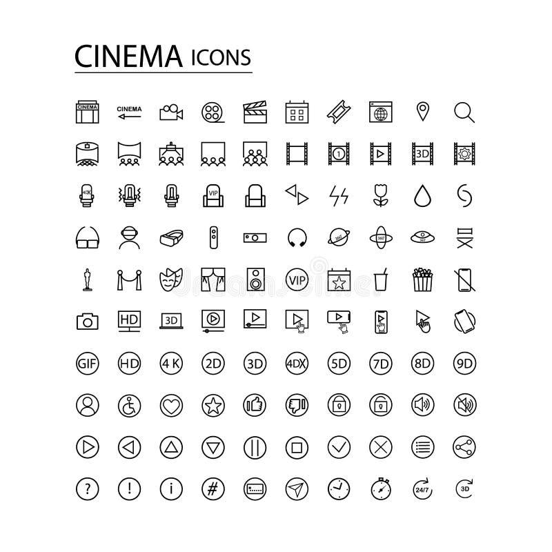 Vastgestelde pictogrammen moderne bioskoop TV vector illustratie