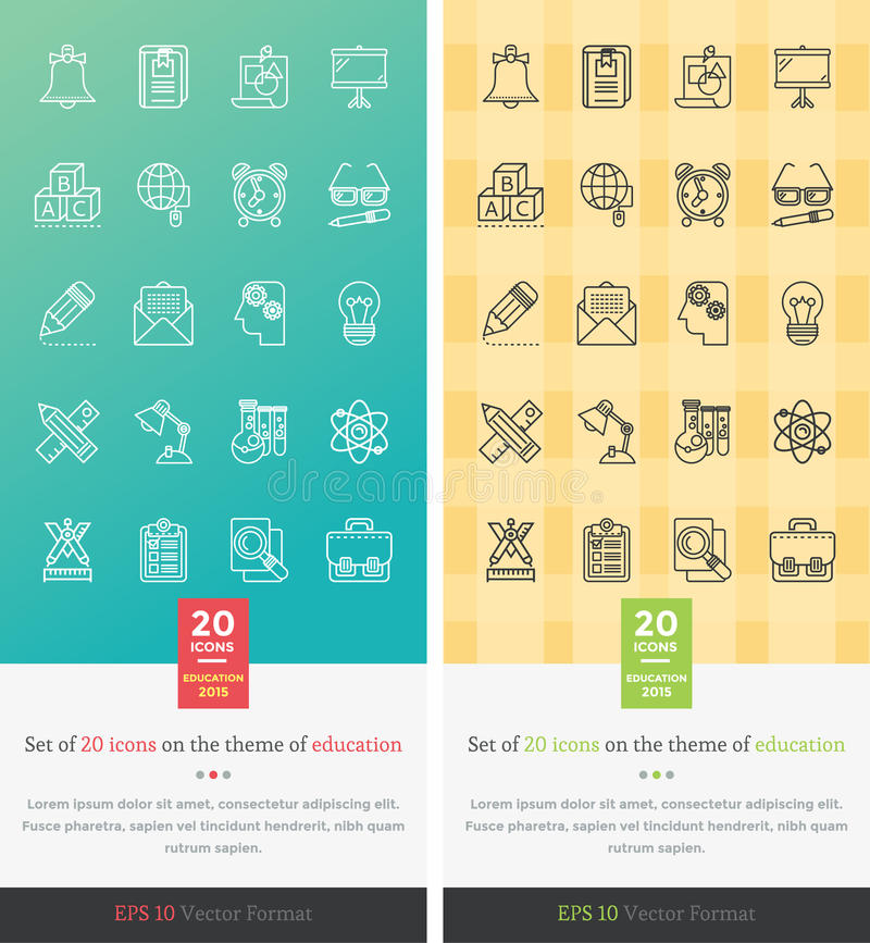 Vastgestelde Pictogrammen op het Thema van Onderwijs royalty-vrije illustratie