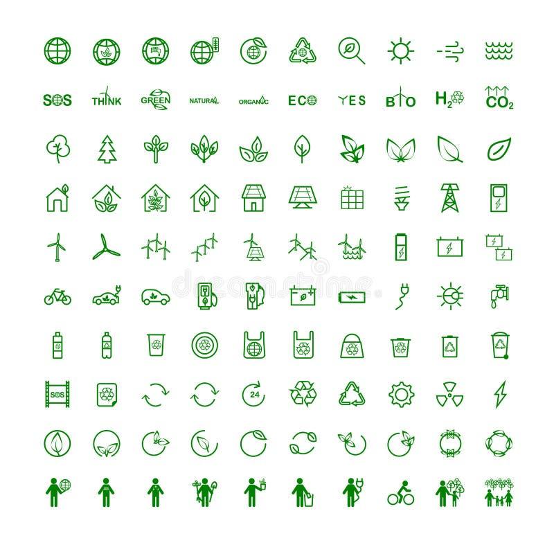 Vastgestelde pictogrammen op onderwerpecologie stock illustratie