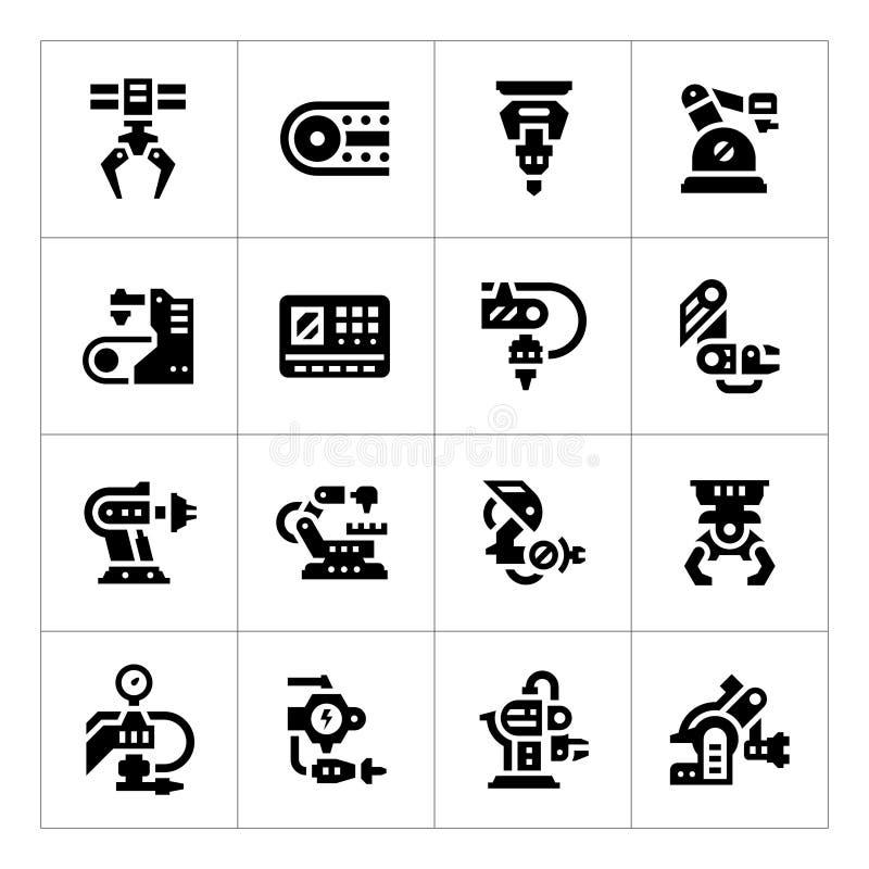 Vastgestelde pictogrammen van de robotachtige industrie stock illustratie