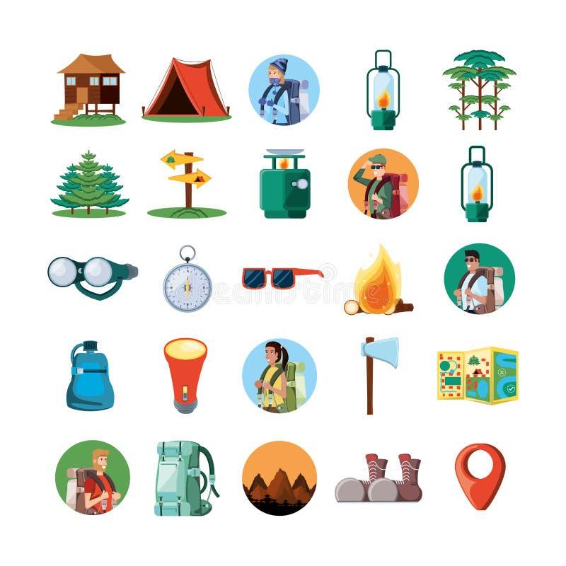 Vastgestelde pictogrammen van het kamperen streek stock illustratie