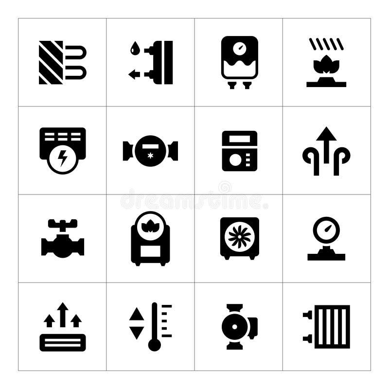 Vastgestelde pictogrammen van het verwarmen royalty-vrije illustratie