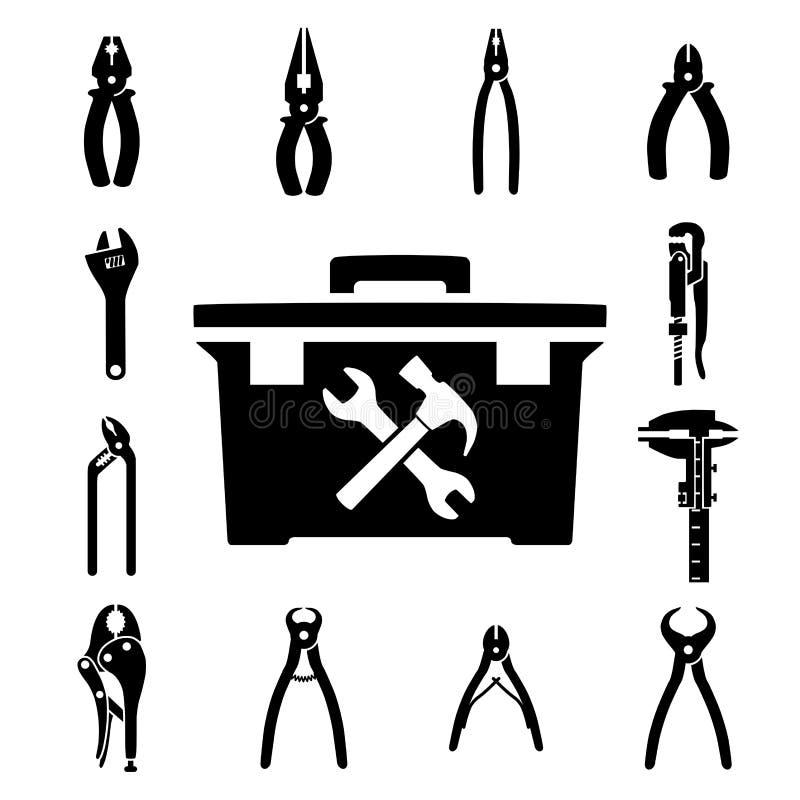 Vastgestelde pictogrammen van hulpmiddelen royalty-vrije illustratie