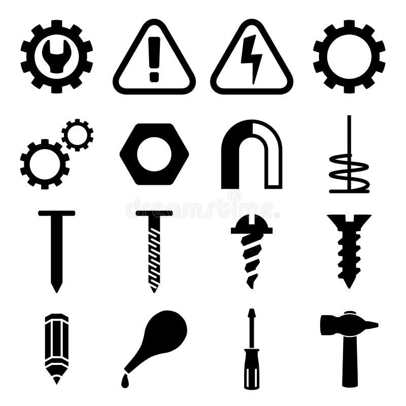Vastgestelde pictogrammen van hulpmiddelen stock illustratie