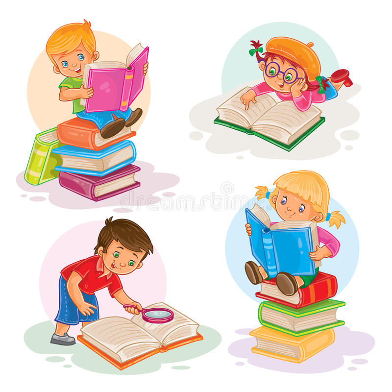 Vastgestelde pictogrammen van kleine kinderen die een boek lezen vector illustratie