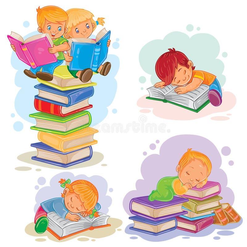 Vastgestelde pictogrammen van kleine kinderen die een boek lezen stock illustratie