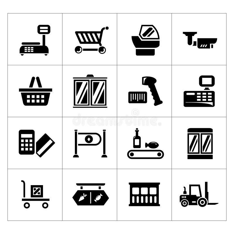 Vastgestelde pictogrammen van kleinhandels en supermarktmateriaal royalty-vrije illustratie