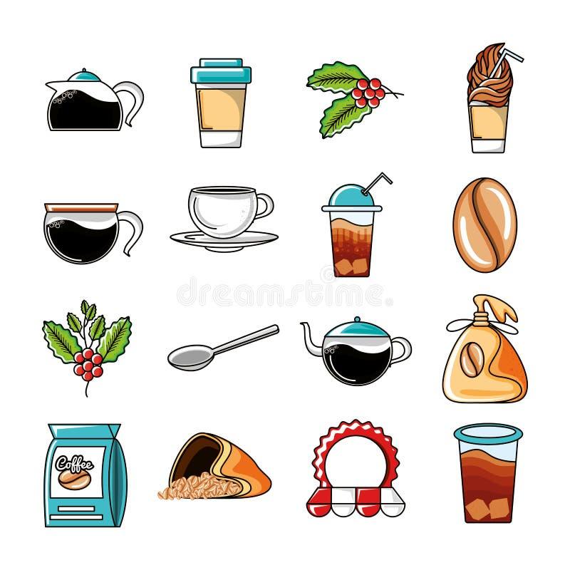 Vastgestelde pictogrammen van koffie en keukengereedschap stock illustratie