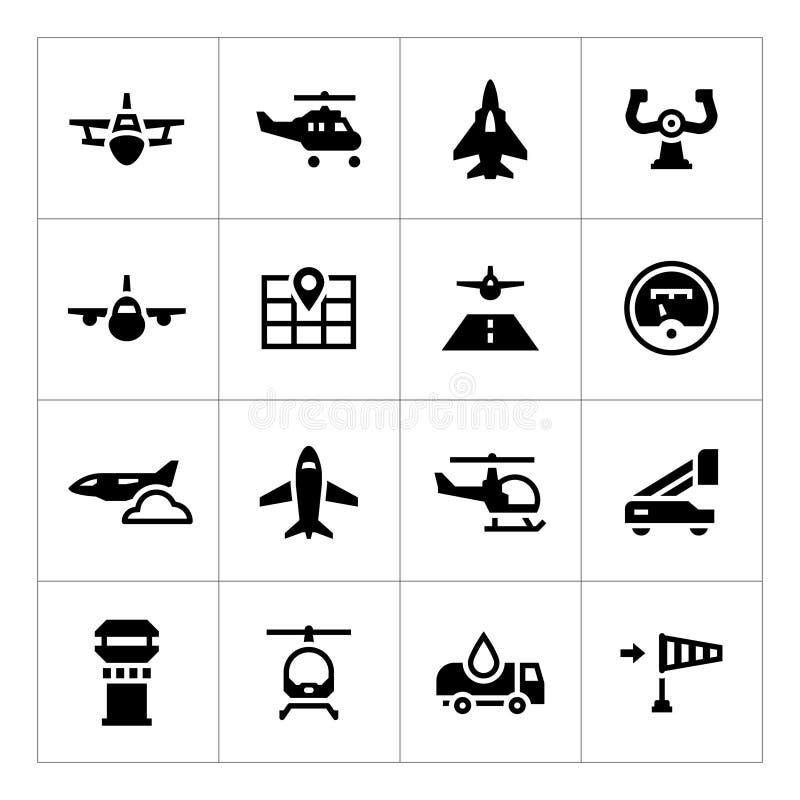 Vastgestelde pictogrammen van luchtvaart royalty-vrije illustratie