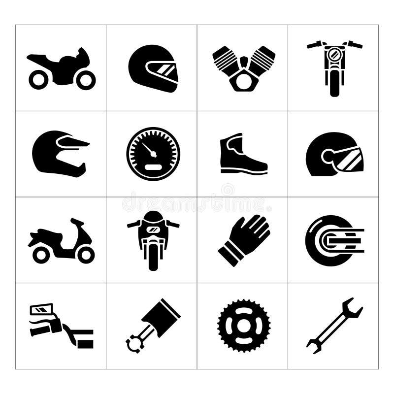 Vastgestelde pictogrammen van motorfiets stock illustratie