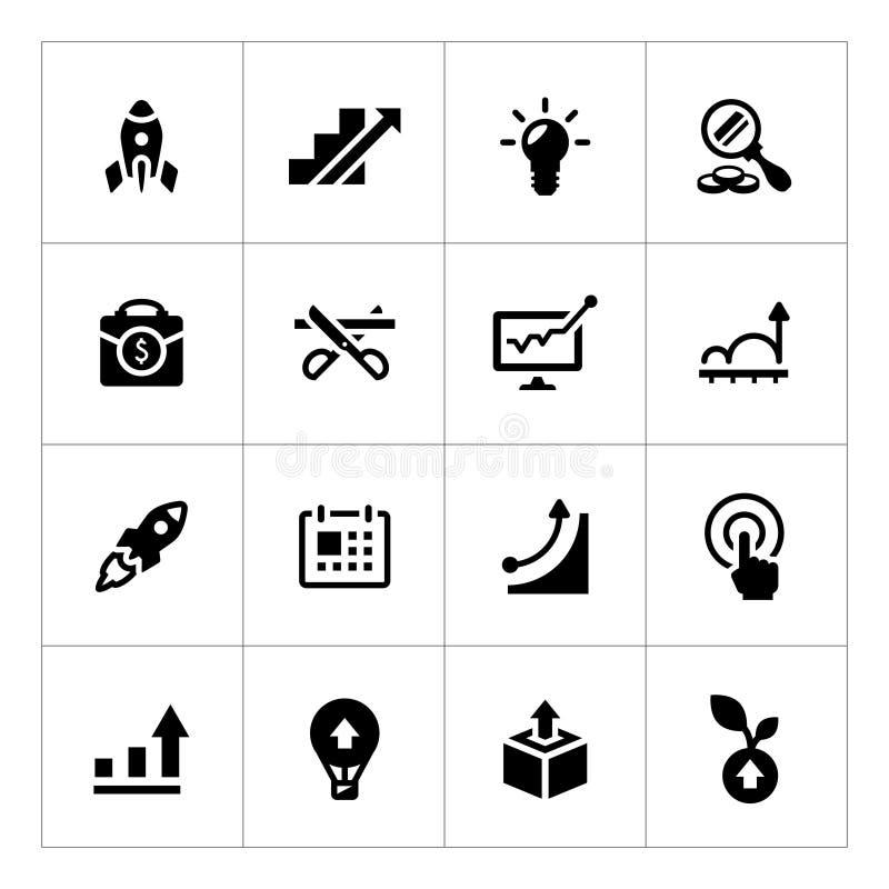 Vastgestelde pictogrammen van opstarten vector illustratie