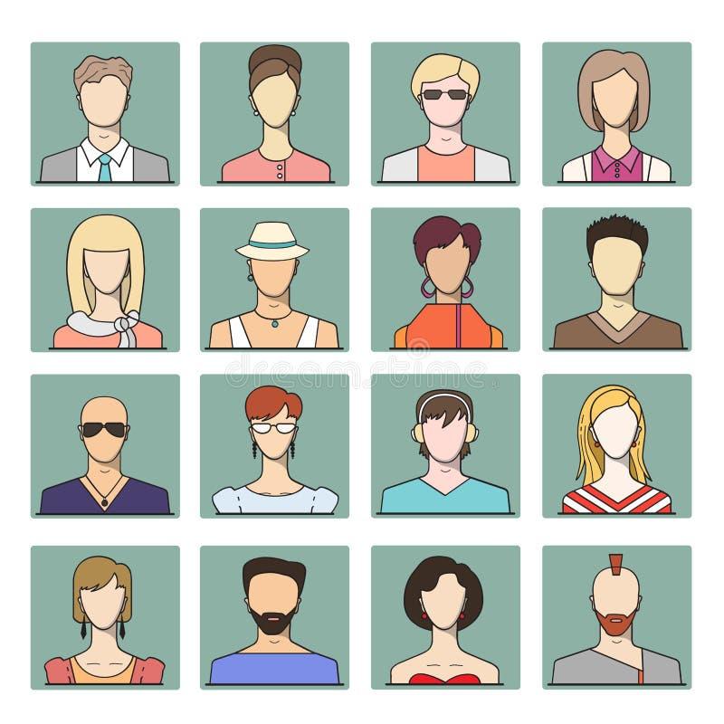 Vastgestelde pictogrammen van verschillende vlakke gezichten van jongeren stock illustratie