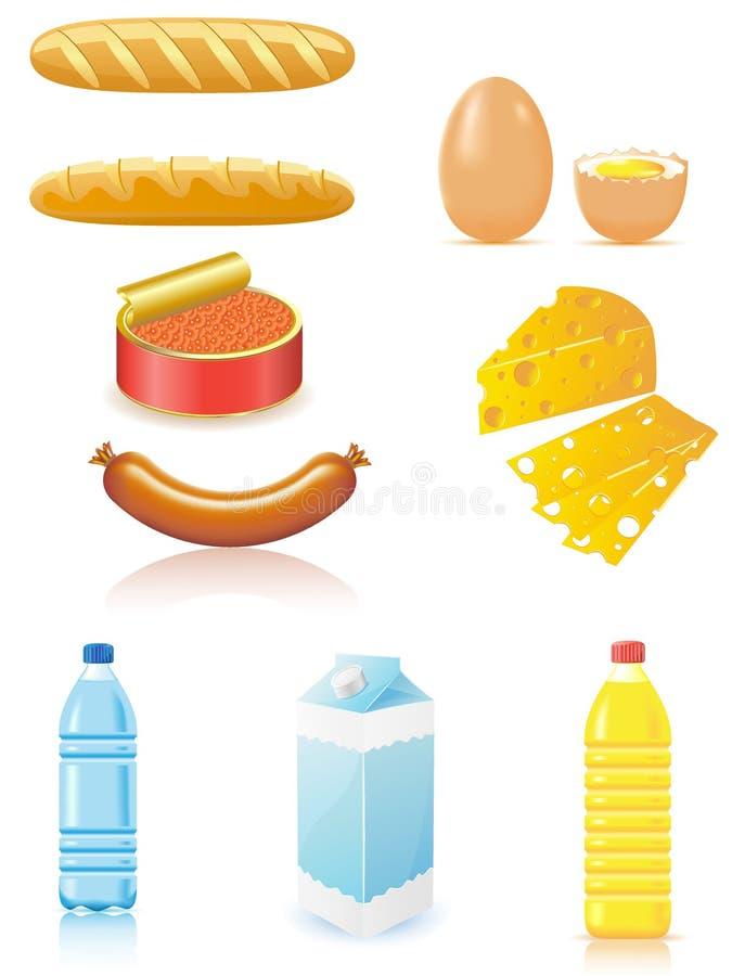 Vastgestelde pictogrammen van voedsel stock illustratie