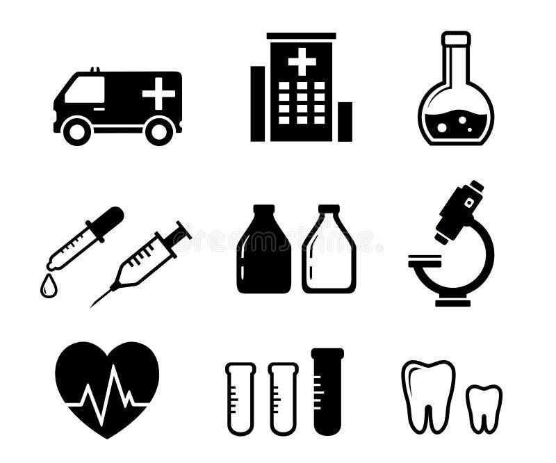 Vastgestelde pictogrammen voor de geneeskundeindustrie royalty-vrije illustratie