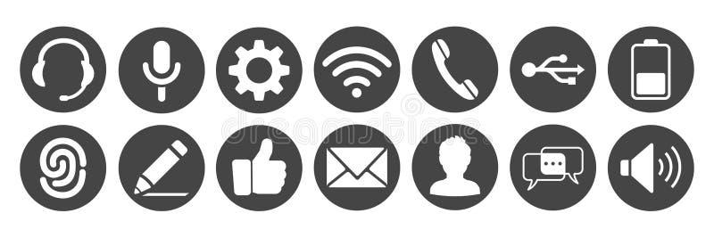 Vastgestelde pictogrammen voor telefoon - vector royalty-vrije illustratie