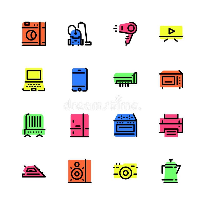Vastgestelde pictogrammenhuishoudapparaten in vlakke stijl, met heldere schaduwen en zwarte slagen, wasmachine royalty-vrije illustratie