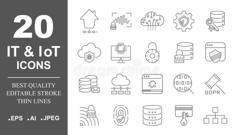 Vastgestelde pictogrammenvector voor mobiele concepten en webtoepassingen Apparaten en technologieën rond ons Internet van dingen royalty-vrije illustratie