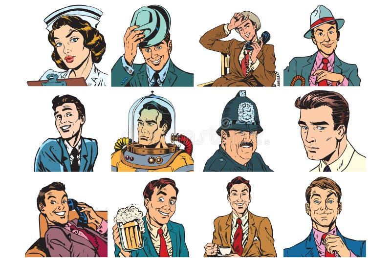 Vastgestelde pop-artportretten van mensen, mannen en vrouwen vector illustratie