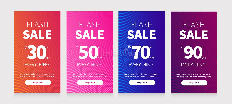 Vastgestelde Promo in vlakke stijl Vectorbevorderingsetiketten Reeks verkoop sociale media voor mobiel ontwerp Speciale aanbiedin stock illustratie