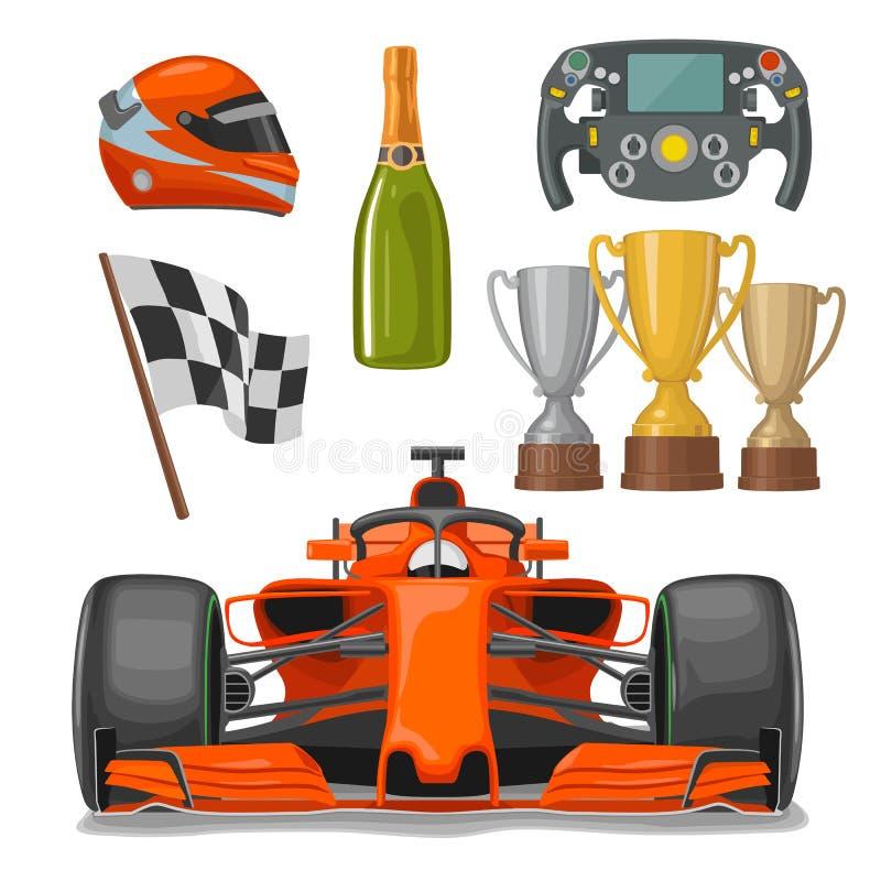 Vastgestelde ras vlakke pictogrammen Helm, champagne, kop, vlag vector illustratie