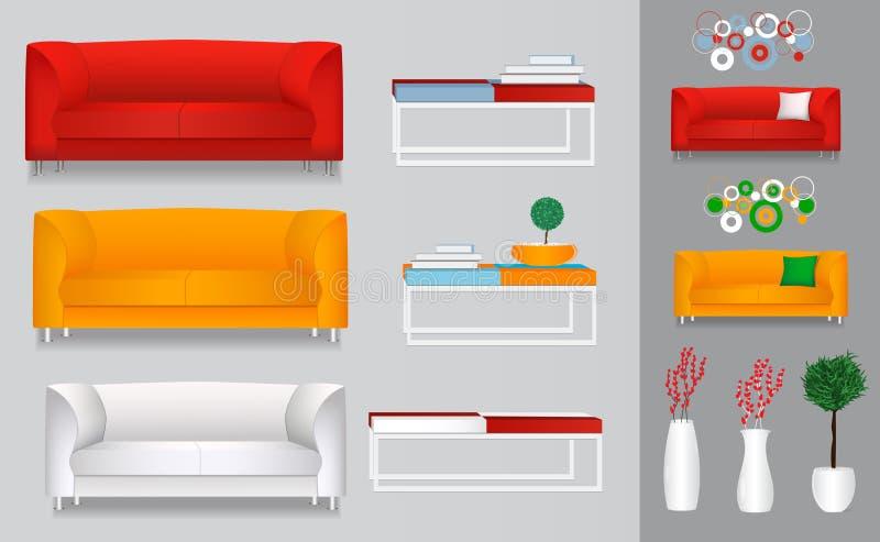 Vastgestelde realistische bank, laag, lijst, pot, vaas met bloemen Rood, o vector illustratie