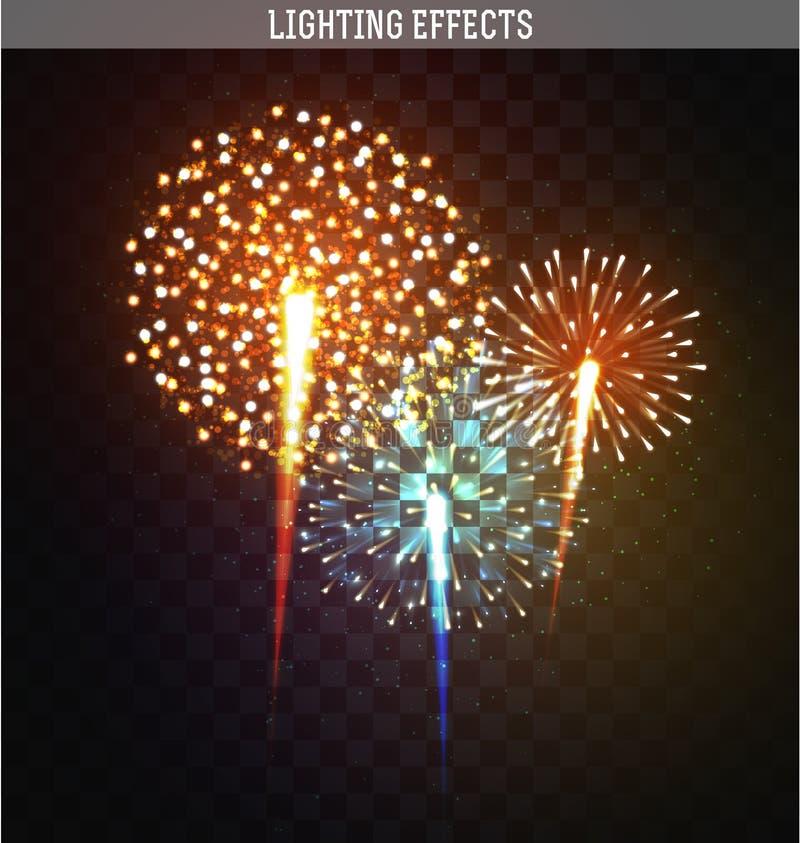 Vastgestelde realistische vuurwerk verschillende vormen Kleurrijk feestelijk, helder vuurwerk stock illustratie
