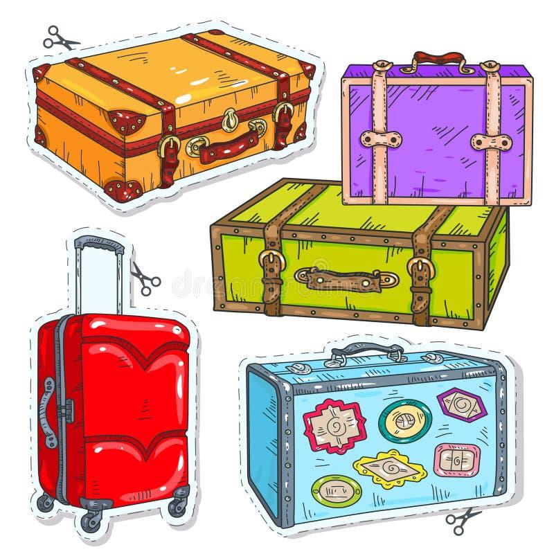 Vastgestelde reiszakken, retro koffer met riem, koffer op wielen en stickers op koffers vector illustratie