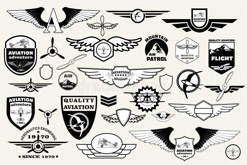 Vastgestelde retro emblemen, ontwerpelementen, kentekens en embleem luchtvaart stock illustratie