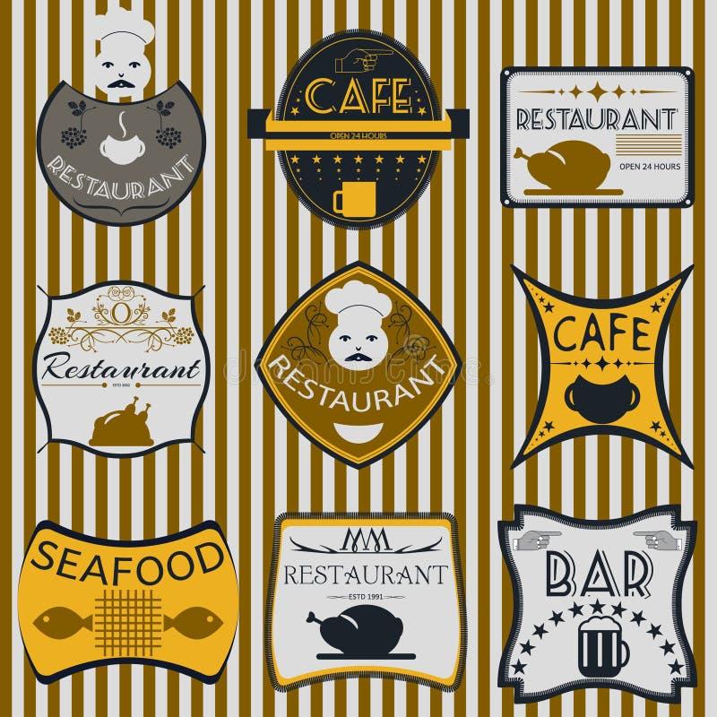 Vastgestelde retro uitstekende kentekens, linten en etiketten hipster stock illustratie