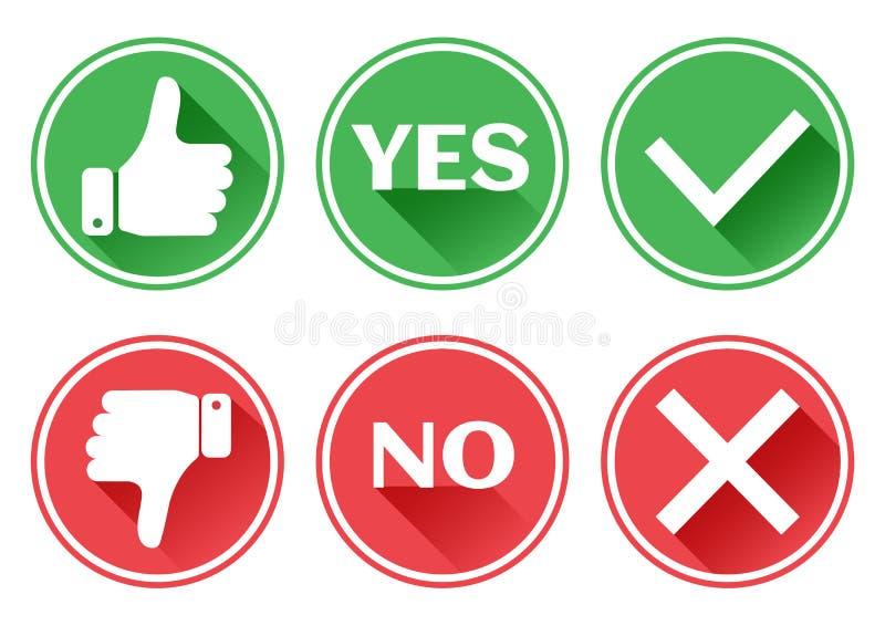 Vastgestelde rode en groene pictogrammenknopen Duim op en neer Als en afkeer Bevestiging en verwerping Ja en Nr Vector stock illustratie