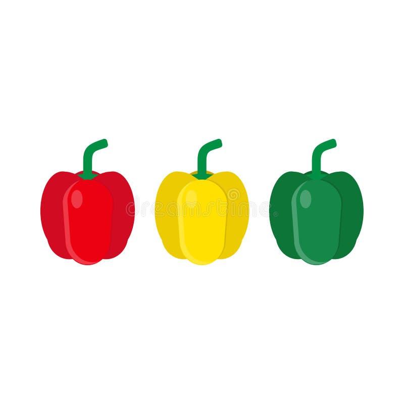 Vastgestelde rode, groene, Gele vector het pictogram hoogste mening van het peper vegetarische ingrediënt De illustratierestauran stock illustratie
