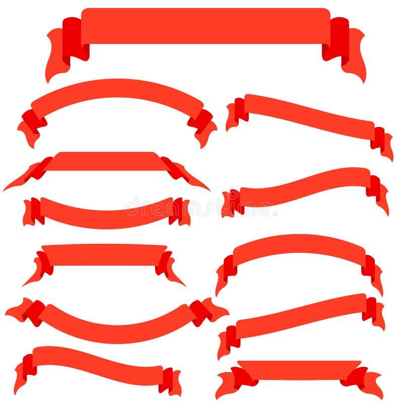 Download Vastgestelde Rode Linten En Banners Vector Illustratie - Illustratie bestaande uit elegant, decoratie: 29514897