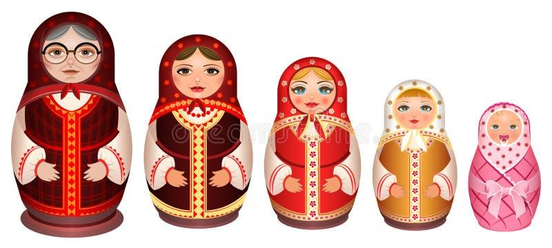 Vastgestelde Russische houten het nestelen pop Traditionele retro herinnering van Rusland vector illustratie