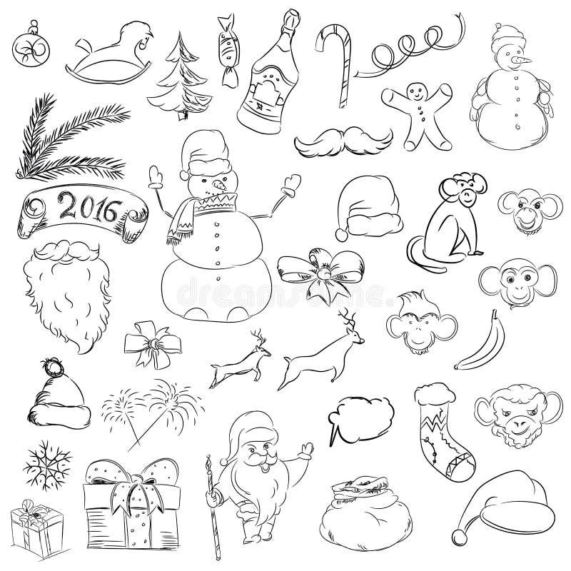 Vastgestelde schetsdingen voor Kerstmis en nieuw jaar Rooster de Kerstman stock illustratie