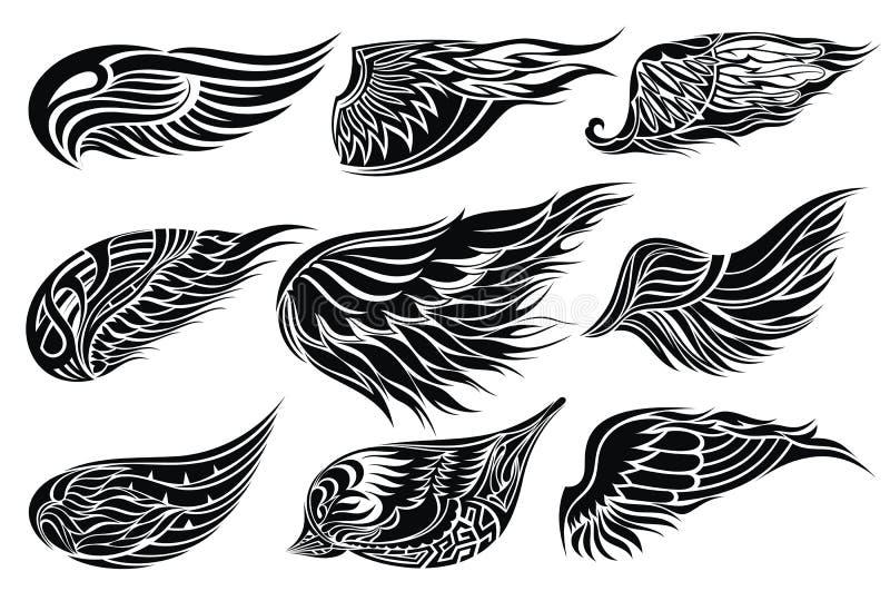 Vastgestelde schetsen van vleugels. Het ontwerp van de tatoegering vector illustratie