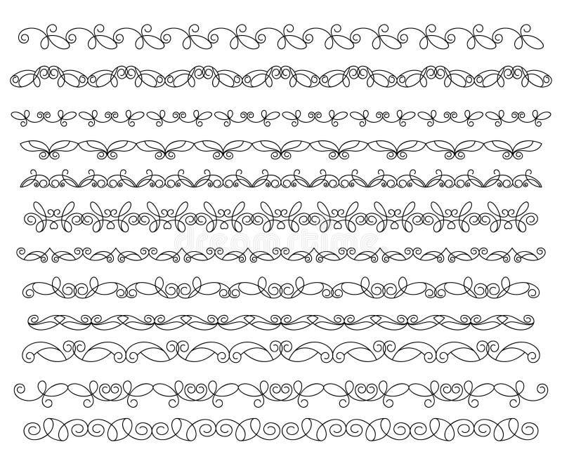 Vastgestelde siergrenzen Decoratieve Elementen vector illustratie
