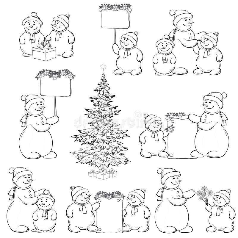 Vastgestelde sneeuwman en Kerstboom, overzicht royalty-vrije illustratie