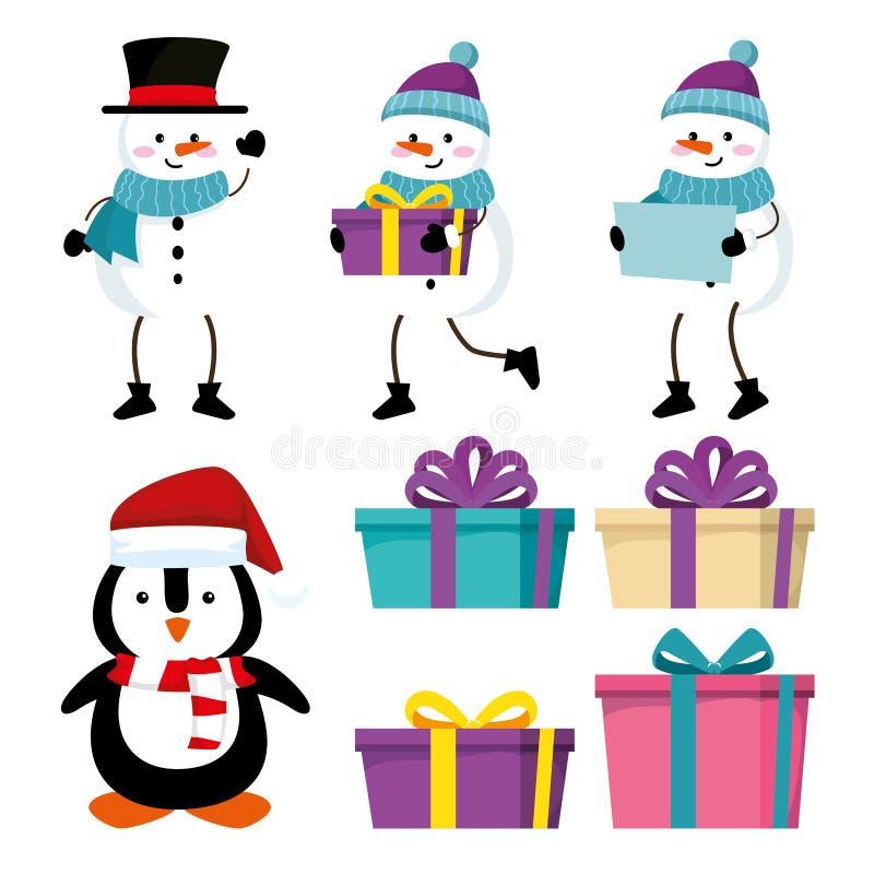 Vastgestelde sneeuwmannen met pinguïn en giften aan Kerstmisgebeurtenis vector illustratie