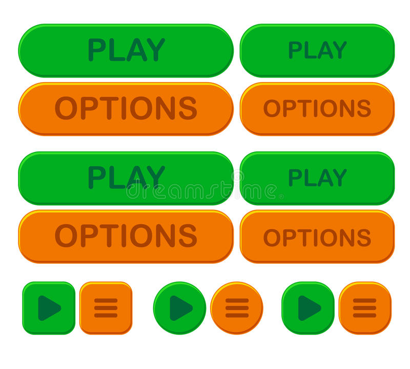 Vastgestelde spel heldere knoop Opties en spel in groene en oranje kleur royalty-vrije illustratie