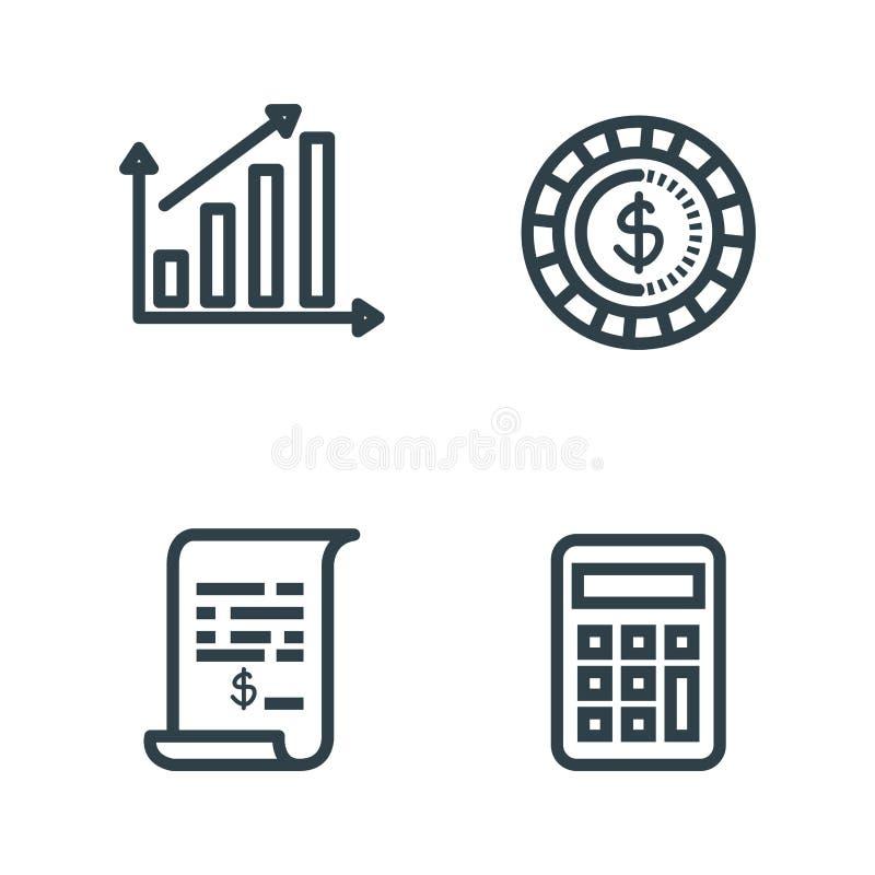Vastgestelde statistiekenbar met muntstuk en rekeningsrapport royalty-vrije illustratie