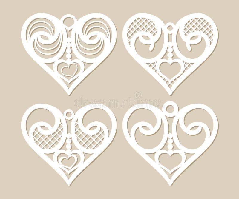 Vastgestelde stencil kanten harten met openwork patroon royalty-vrije illustratie