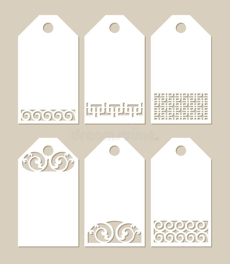 Vastgestelde stenciletiketten met gesneden patroon vector illustratie