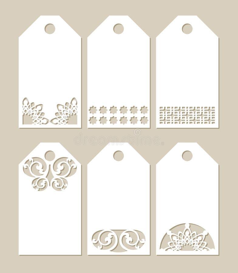 Vastgestelde stenciletiketten met gesneden patroon stock illustratie